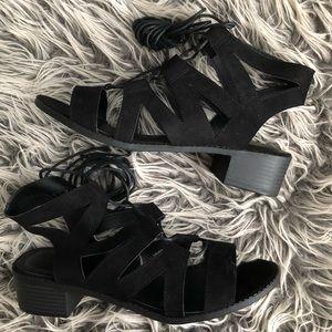 NWT Wild Diva | Black Gladiator Lace Up Block Heel